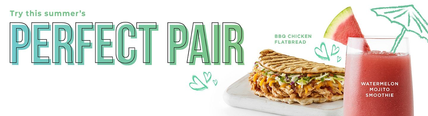 BBQ Chicken Flatbread pairs perfectly with our Watermelon Mojito Smoothie.