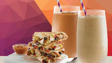 Pumpkin Pie and Salted Carmel Smoothies with a Jamaican Jerk Quesadilla.
