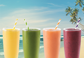 Mango Magic, Island Green Detox, Bahama Mama, and Acai Berry Boost Smoothie