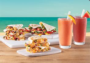 Watermelon Mojito, Mango Berry Cosmo, BBQ Shrimp, Jerk Chicken, BLT