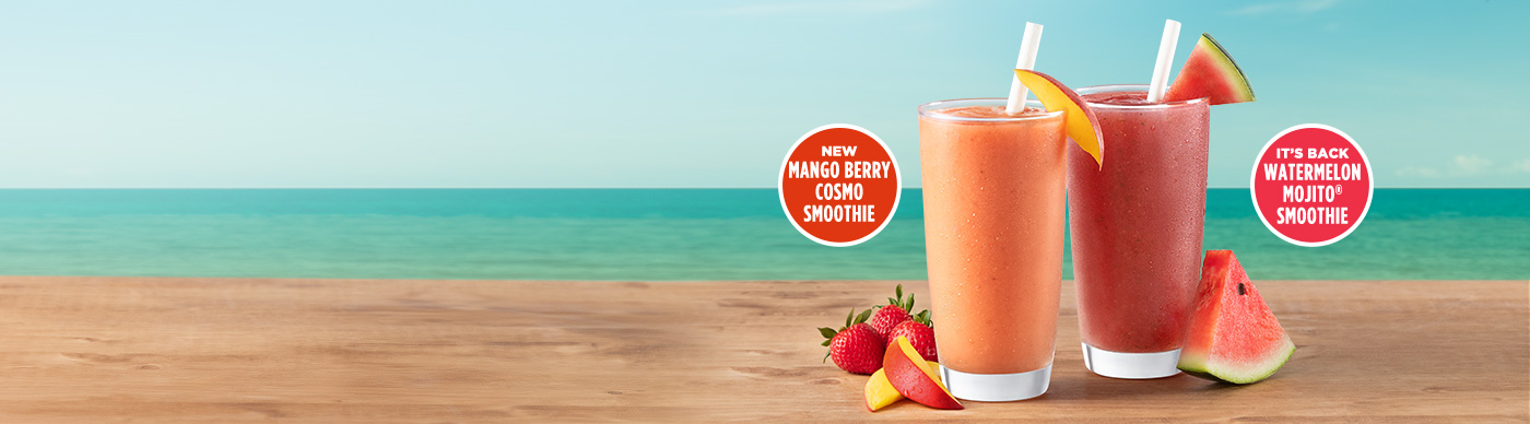 NewMango Berry Cosmo Smoothie. It's back, Watermelon Mojito® Smoothie.