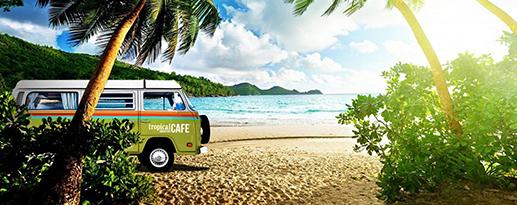 Tropical Smoothie Cafe bus on a beach